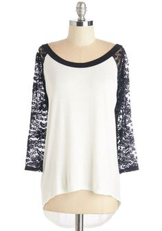 All About Rachel Top - Mid-length, Jersey, Sheer, Knit, Lace, White, Black, Lace, Casual, 3/4 Sleeve, Variation, Scoop, 3/4 Sleeve