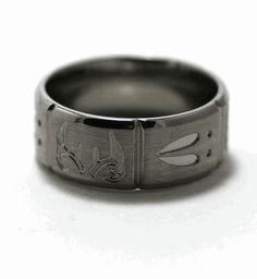 Men's Deer Track Ring | Deer Antler and Tracks Ring, Animal Track Rings - Titanium-Buzz.com