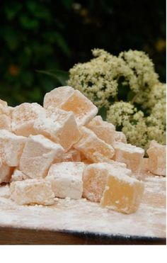 Elderflower Delight - from the River Cottage Hedgerow Handbook. A most delicious June treat. Double the amount of gelatine stated in the recipe for really firm cubes - otherwise it can turn out a bit soggy.