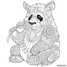 Vector: Zentangle stylized cartoon panda, isolated on white background. Sketch for adult antistress coloring page. Hand drawn doodle, zentangle, floral design elements for coloring book.