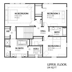 "second floor -- Plan #901-123 (Houseplans.com) [""This craftsman design floor plan is 2456 sq ft and has 3 bedrooms and has 2.5 bathrooms.""]"