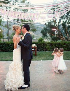 "I like her dress! ""Cute dance floor decor.. also love the little girls :) ...Parisian Countryside Wedding in Cali: Logan + John"""