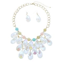 Teardrop Crystals Cluster Statement Necklace Set #wholesale24x7