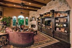 Furniture: Such A Great Holland House Design Using Custom Made Entertainment Center Vintage Sofa And Eye Catching Bricks Wall, Amazing Cabinet, Inspiring LIving Room