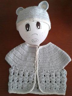 Conjunto chaqeta y gorrito crochet