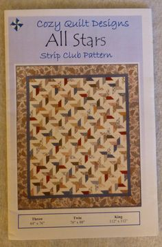 Pattern, All Stars by Cozy Quilt Designs, for 2 1/2 Strips, Pretty Stars, Use a Jelly Roll, Strip Tube Ruler, Quilts
