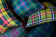 Just a few of our selection of tartan and tattersall decorative pillows at SMW Home. www.ScotMeachamWoodHome.com
