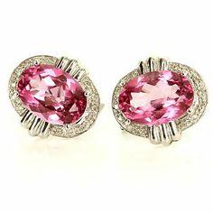 Estate 14 Karat White Gold Pink Topaz Diamond Cocktail Earrings Fine Jewelry $695