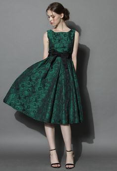 Grace Reverie Floral Dress in Evergreen - Dress - Retro, Indie and Unique Fashion