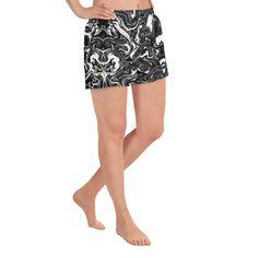 Marbled Women's Shorts, Black Marbled Print Ladies Athletic Short Runn – Heidi Kimura Art LLC Women's Athletic Shorts, Running Pants, Women's Shorts, Athletic Women, Running Women, Printed Shorts, Print Design, Plus Size, Lady