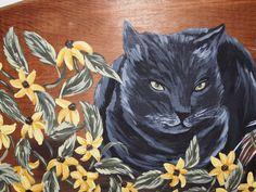 Custom cat portrait on old wooden ironing board by Julie Baker-Lowden https://www.facebook.com/MyArtsyFartsySelf