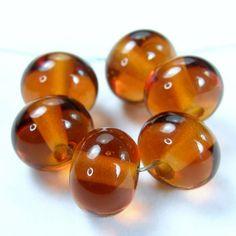 Amber Glass Beads - Lampwork