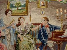 Petit point purse with intricate scene of English parlor gathering