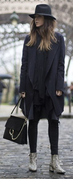 Fedora + Nicoletta Reggio + instant vintage chic + all black aesthetic + faux snakeskin boots  Coat: Celine from Gasmy.it, Trousers: Zara, Bag: Chloè, Shoes: Sarenza .