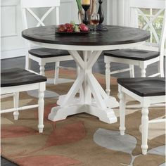 Beachcrest Home Mulford Dining Table Circle Dining Table, Diy Dining Room Table, A Table, Round Farmhouse Table, Painted Kitchen Tables, Round Kitchen Tables, Distressed Kitchen Tables, Eat In Kitchen Table, Refurbished Table
