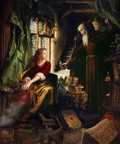 The Education of Morgan Le Fay, from King Arthur & the Knights of the Round Table; Paintings of the Arthurian legends by Howard David Johnson