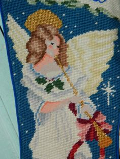 Needlepoint Christmas Stocking Angels on High by TheIDconnection Old Christmas, Vintage Christmas, Needlepoint Christmas Stockings, Christmas Stickers, Christmas Decorations, Holiday Decor, Crossstitch, Angels, Monogram