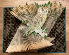 """A series of sculptural altered books using owls cut from a bird encyclopedia, combined with hardcover books, and decorative paper."""