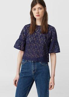 Guipure t-shirt -  Woman | MANGO Ireland
