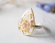 Pretty Cocktail Ring Wire Ring Agate Gemstone for Mothers Day Adjustable Butterfly Ring for Women Handmade Turquoise Ring for Birthday