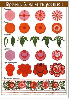 Russian Folk Art - Gorodetskaya painting elements of painting templates for lessons Arts Art Floral, Motif Floral, Folk Art Flowers, Flower Art, Art Populaire Russe, Polish Folk Art, Painting Templates, Russian Folk Art, Scandinavian Folk Art