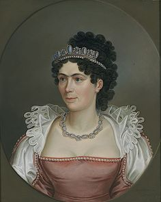 a portait of Caroline Bonaparte, 1821, wearing a blue and black onyx tiara with pearl spacers. See next pin