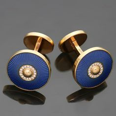 Authentic 2010s CARTIER Sunshade Diamond Blue Enamel Rose Gold Cufflinks $10000 #Cartier #CuffLinks