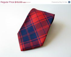 Vintage 1970s Blue & Red Plaid Polyester Necktie