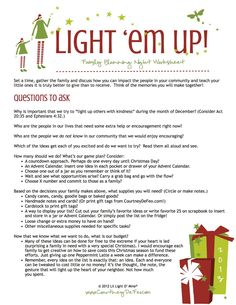 Light Em Up Planning - so many of these things could be done all year though!