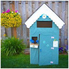 Make an Adorable Cardboard Playhouse · Kix Cereal Cardboard Playhouse, Diy Cardboard, Diy For Kids, Cool Kids, Kids Fun, Happy Kids, Play Houses, Diy Tutorial, Kids Playing