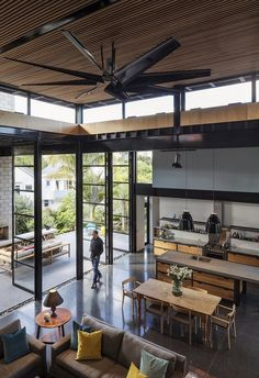 Double Height Living Spaces Add Drama to This Industrial-Style House Industrial Sheds, Industrial Home Design, Industrial Style, Loft House, House 2, Casas Containers, Shed Homes, Home Design Plans, Best Interior Design