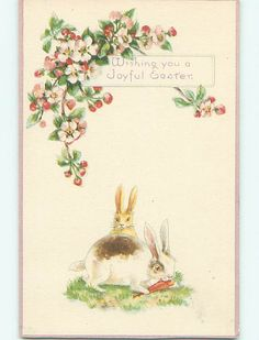 Easter Greetings  2 Brown and White Bunnies by sharonfostervintage, $4.00