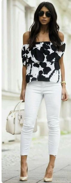 2017 Spring & Summer. Ask your Stitch Fix stylist for an outfit like this in your next fix, delivered right to your door. White skinny jeans, white off the shoulder top with large black floral print. #sponsored #stitchfix