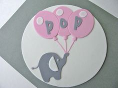 Items similar to Baby Shower Elephant with Balloons Ready To Pop Fondant Cake Plaque on Etsy Pop Baby Showers, Elephant Baby Showers, Pink Elephant, Baby Shower Gifts, Baby L, Ready To Pop, Fondant Baby, Baby Shower Gender Reveal, Pretty Cakes