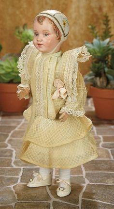 A Matter of Circumstance: 144 Rare American Wooden Bonnet Head Doll by Schoenhut with Brown Eyes