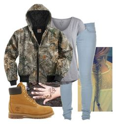 """""""It is wayyyyy to cold!"""" by imblissedoff ❤ liked on Polyvore featuring Marc by Marc Jacobs, Pieces, Carhartt and Timberland"""