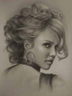 Celebrity Pencil Portraits - Jessica Alba