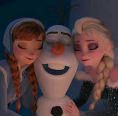 "Anna, Olaf, and Elsa in ""Olaf's Frozen Adventure""."