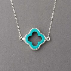 turquoise clover necklace $33