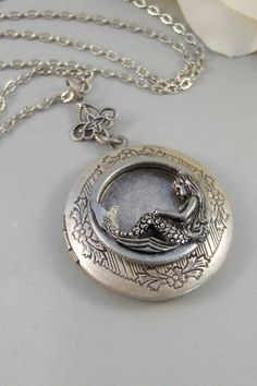 Siren's Call,Locket,Mermaid, Mermaid Locket,Antique Locket,Silver Locket,Goddess,Ocean Locket,Handmade jewelry by valleygirldesigns on Etsy, $32.00