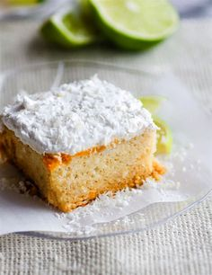 Super EASY gluten free lemon lime coconut vegan cake topped with fluffy whipped coconut cream frosting. An allergy friendly vegan cake that's perfect for Spring/Summer. So simple to make! Paleo Dessert, Healthy Dessert Recipes, Gluten Free Desserts, Dairy Free Recipes, Real Food Recipes, Sweet Recipes, Vegan Recipes, Coconut Cream Frosting, Vegan Frosting