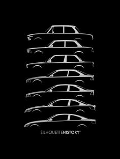 Bavarian Dreier Coupes SilhouetteHistory Silhouettes of the mid-category BMW two-door cars: 2002 (E6), 3-series (E21, E30, E36, E46, E92) and 4-Series Coupe (F32)