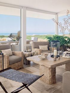 A natural hued living room inspired by the colors of sand.