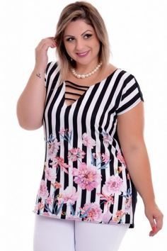Blusa Plus Size Mix Print