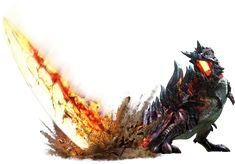 Glavenus is a Brute Wyvern first introduced in Monster Hunter Generations. Glavenus is a large Brute Wyvern with dark red scales covering its body. Two rows of blue, bony plates run along its back, going from the eyes to the tail. Its underside is more of a cream color. The main feature of Glavenus's physiology is its huge, sword-like tail. The tail has originally the same color as its back plates, although it will turn a rusty color or a fiery red during the battle. Its hind legs are...