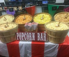 Backyard Wedding Reception Food Popcorn Bar 27 New Ideas Wedding Popcorn Bar, Wedding Snacks, Wedding Reception Food, Wedding Ideas, Reception Ideas, Wedding Trends, Fall Wedding, Wedding Decorations, Carnival Birthday Parties