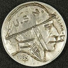 J. ALLEN HOBO NICKEL - U.S. NAVY SOLDIER - 1935 BUFFALO PROFILE Hobo Nickel, Paper Cutting, Buffalo, Classic Style, Coins, Carving, Profile, Navy, User Profile