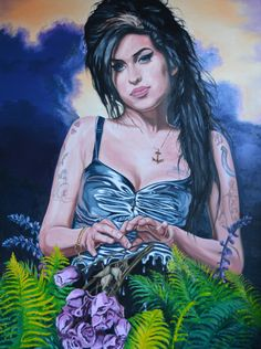 "Amy Winehouse ""Back to Black"" Oil on canvas size 1016mm x 762mm For Sale £1760"