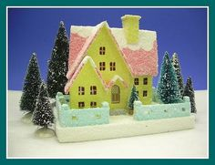 Vintage inspired cardboard Christmas house by Howard Lamey