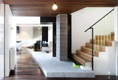 Stone, steel, wood elements to create this interior.